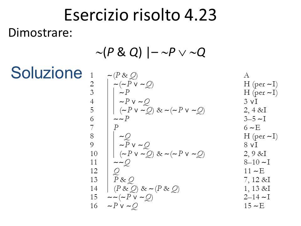 Strategie dimostrative (1) Per dimostrare una formula atomica: in mancanza di altre strategie, ipotizzare la negazione della conclusione per ottenere la sua doppia negazione tramite ∼ I, quindi applicare ∼ E.