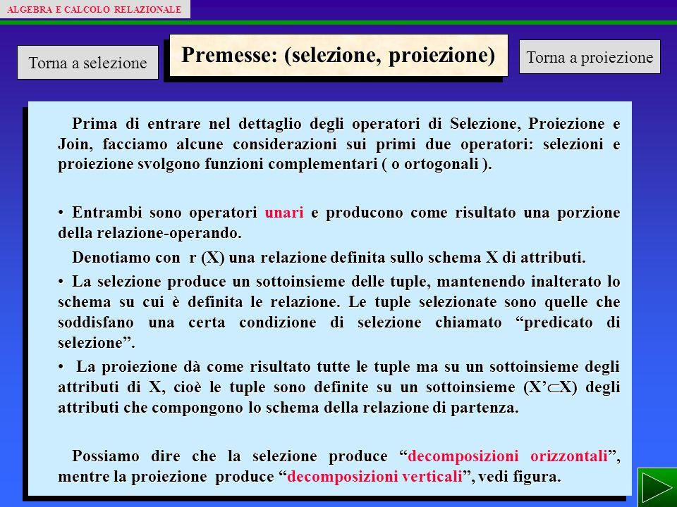 Premesse: (selezione, proiezione) Prima di entrare nel dettaglio degli operatori di Selezione, Proiezione e Join, facciamo alcune considerazioni sui primi due operatori: selezioni e proiezione svolgono funzioni complementari ( o ortogonali ).