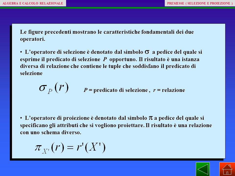 Le figure precedenti mostrano le caratteristiche fondamentali dei due operatori. L'operatore di selezione è denotato dal simbolo  a pedice del quale