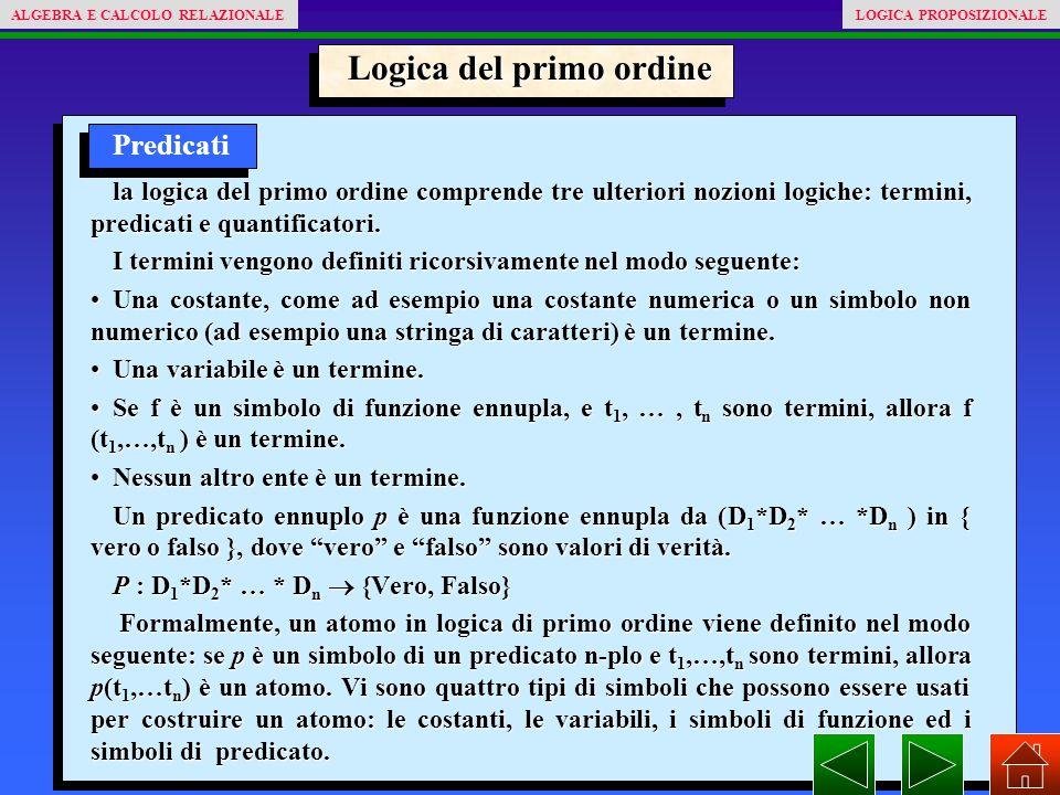 Logica del primo ordine Predicati la logica del primo ordine comprende tre ulteriori nozioni logiche: termini, predicati e quantificatori.