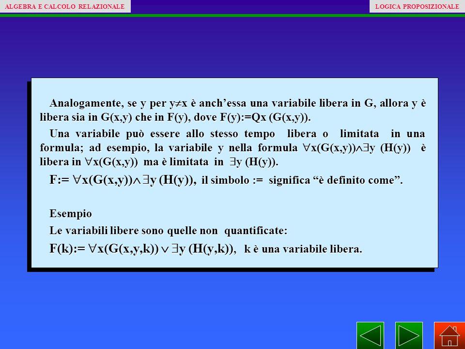 Analogamente, se y per y  x è anch'essa una variabile libera in G, allora y è libera sia in G(x,y) che in F(y), dove F(y):=Qx (G(x,y)). Una variabile