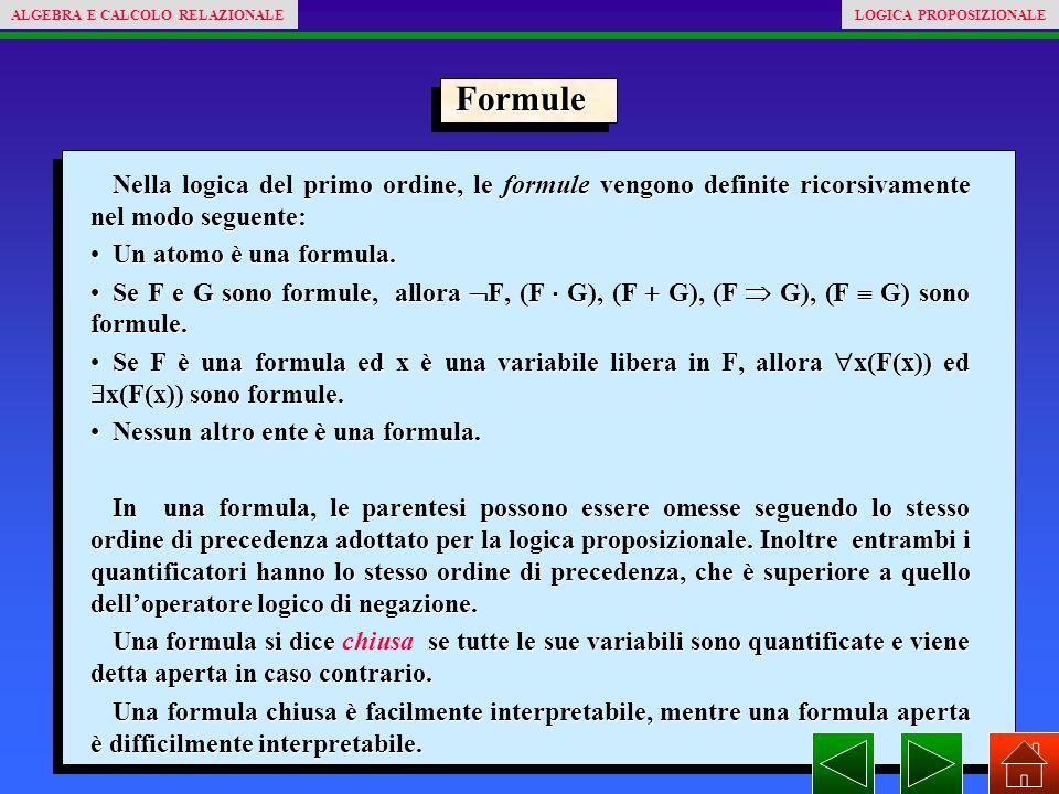 Formule Nella logica del primo ordine, le formule vengono definite ricorsivamente nel modo seguente: Un atomo è una formula.Un atomo è una formula. Se