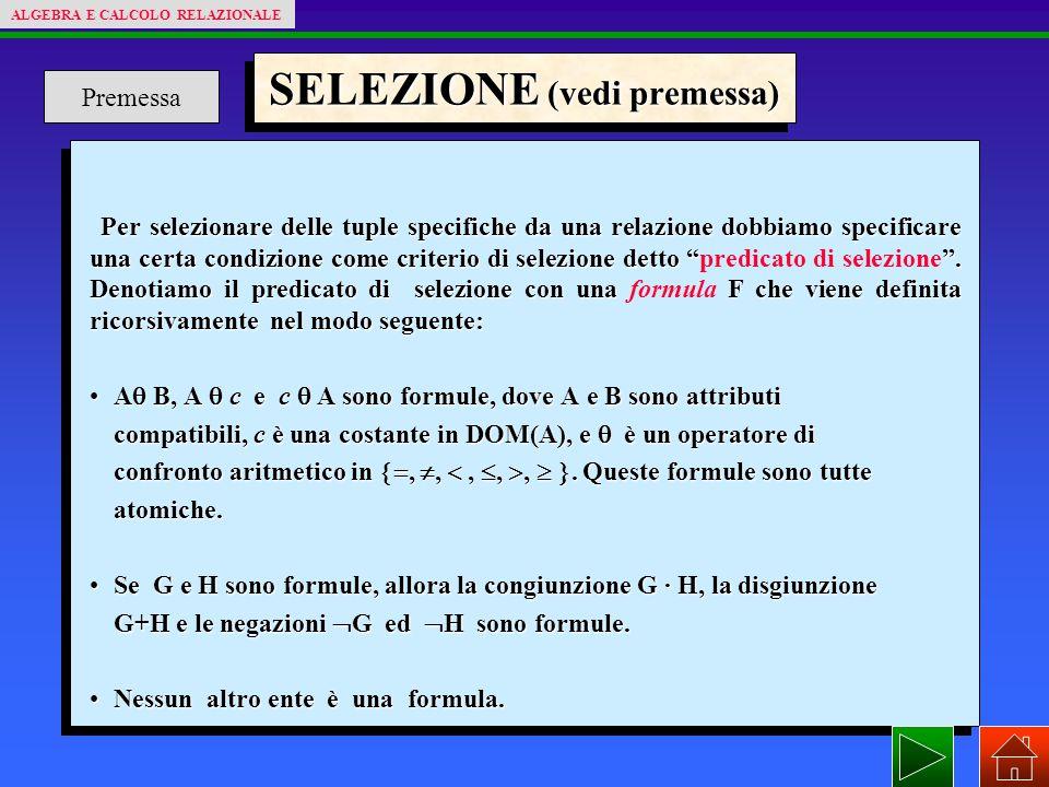 SELEZIONE (vedi premessa) Per selezionare delle tuple specifiche da una relazione dobbiamo specificare una certa condizione come criterio di selezione