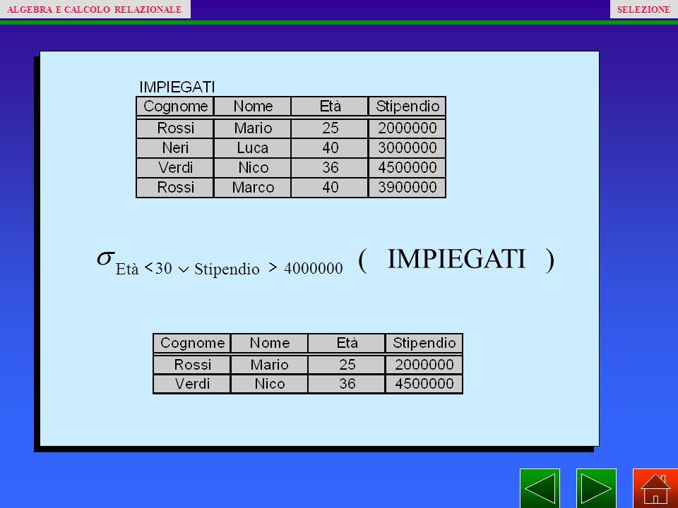 )( 400000030 IMPIEGATI StipendioEtà   ALGEBRA E CALCOLO RELAZIONALESELEZIONE