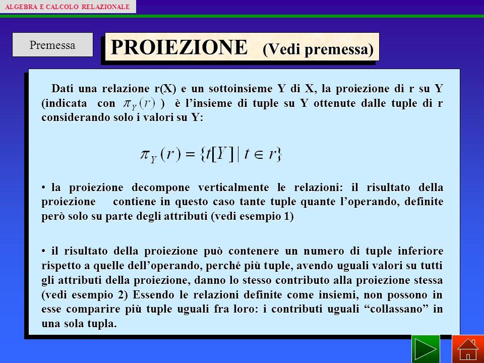 PROIEZIONE (Vedi premessa) Dati una relazione r(X) e un sottoinsieme Y di X, la proiezione di r su Y (indicata con ) è l'insieme di tuple su Y ottenute dalle tuple di r considerando solo i valori su Y: la proiezione decompone verticalmente le relazioni: il risultato della proiezione contiene in questo caso tante tuple quante l'operando, definite però solo su parte degli attributi (vedi esempio 1)la proiezione decompone verticalmente le relazioni: il risultato della proiezione contiene in questo caso tante tuple quante l'operando, definite però solo su parte degli attributi (vedi esempio 1) il risultato della proiezione può contenere un numero di tuple inferiore rispetto a quelle dell'operando, perché più tuple, avendo uguali valori su tutti gli attributi della proiezione, danno lo stesso contributo alla proiezione stessa (vedi esempio 2) Essendo le relazioni definite come insiemi, non possono in esse comparire più tuple uguali fra loro: i contributi uguali collassano in una sola tupla.il risultato della proiezione può contenere un numero di tuple inferiore rispetto a quelle dell'operando, perché più tuple, avendo uguali valori su tutti gli attributi della proiezione, danno lo stesso contributo alla proiezione stessa (vedi esempio 2) Essendo le relazioni definite come insiemi, non possono in esse comparire più tuple uguali fra loro: i contributi uguali collassano in una sola tupla.