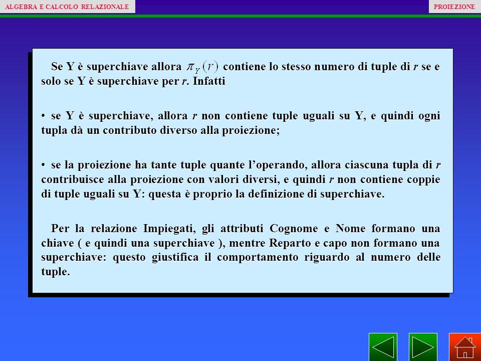 Se Y è superchiave allora contiene lo stesso numero di tuple di r se e solo se Y è superchiave per r.