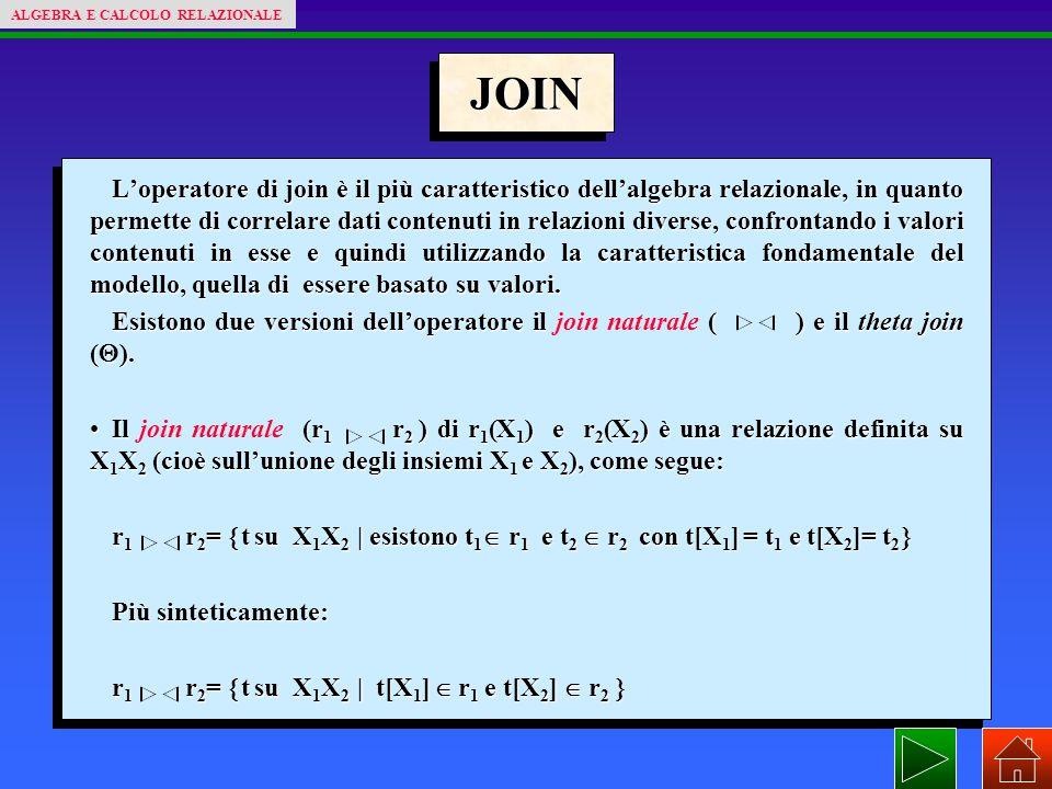 JOIN L'operatore di join è il più caratteristico dell'algebra relazionale, in quanto permette di correlare dati contenuti in relazioni diverse, confrontando i valori contenuti in esse e quindi utilizzando la caratteristica fondamentale del modello, quella di essere basato su valori.