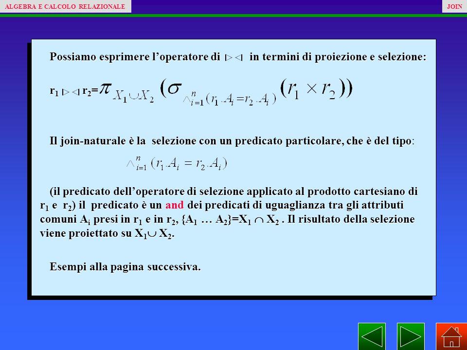 Possiamo esprimere l'operatore di in termini di proiezione e selezione: r 1 r 2 = Il join-naturale è la selezione con un predicato particolare, che è