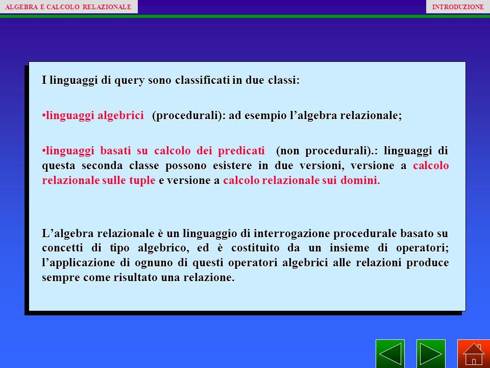 I linguaggi di query sono classificati in due classi: (procedurali): ad esempio l'algebra relazionale;linguaggi algebrici (procedurali): ad esempio l'algebra relazionale; (non procedurali).: linguaggi di questa seconda classe possono esistere in due versioni, versione a e versione alinguaggi basati su calcolo dei predicati (non procedurali).: linguaggi di questa seconda classe possono esistere in due versioni, versione a calcolo relazionale sulle tuple e versione a calcolo relazionale sui domini.