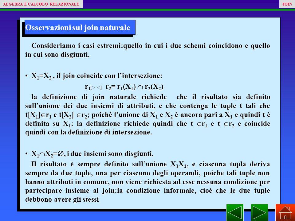 Osservazioni sul join naturale Consideriamo i casi estremi:quello in cui i due schemi coincidono e quello in cui sono disgiunti.
