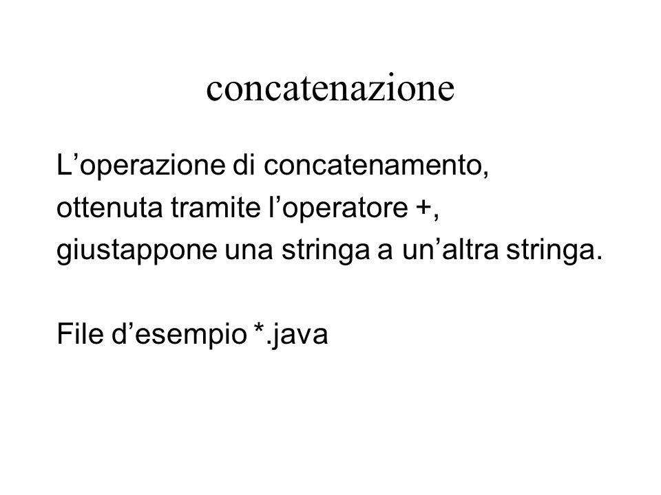 concatenazione L'operazione di concatenamento, ottenuta tramite l'operatore +, giustappone una stringa a un'altra stringa.