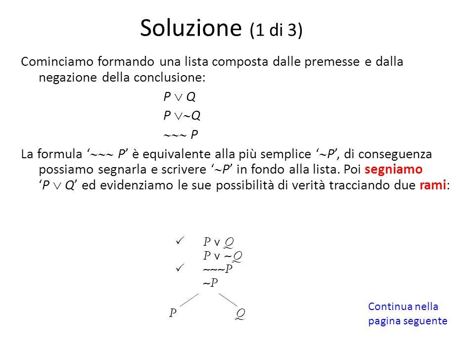 Cominciamo formando una lista composta dalle premesse e dalla negazione della conclusione: P  Q P  Q  P La formula '  P' è equivalente alla p