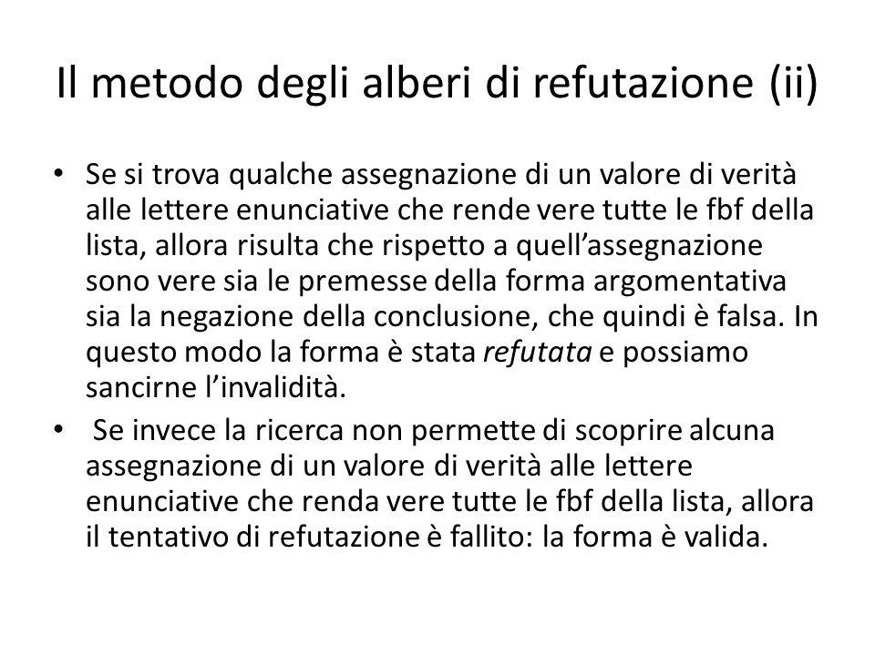 Il metodo degli alberi di refutazione (ii) Se si trova qualche assegnazione di un valore di verità alle lettere enunciative che rende vere tutte le fb