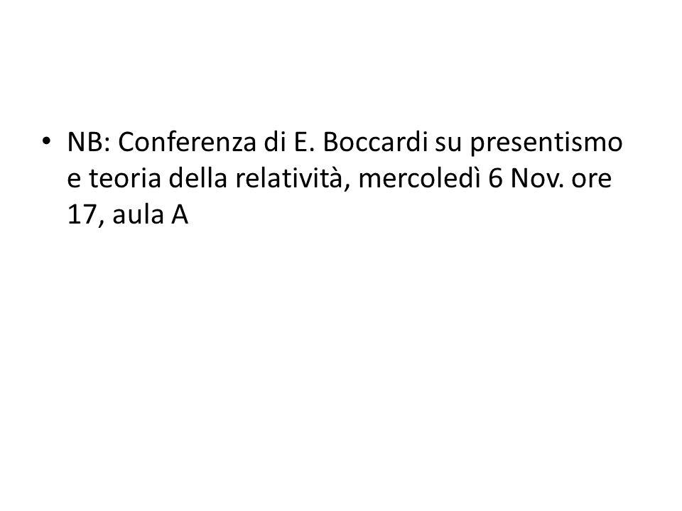 NB: Conferenza di E. Boccardi su presentismo e teoria della relatività, mercoledì 6 Nov. ore 17, aula A