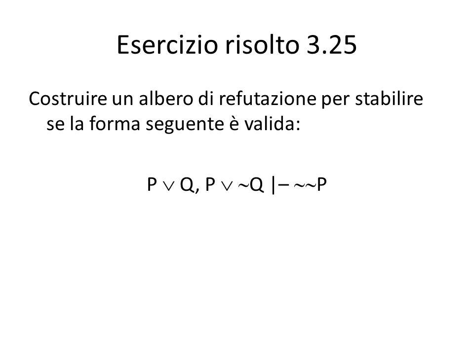 Esercizio risolto 3.25 Costruire un albero di refutazione per stabilire se la forma seguente è valida: P  Q, P   Q |–  P