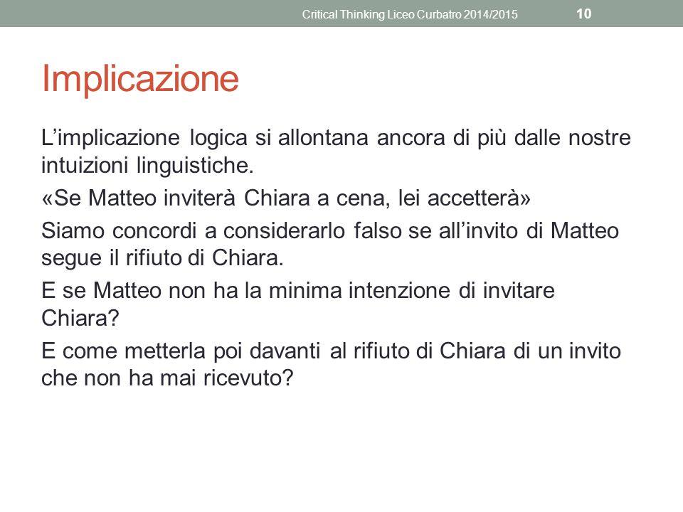 Implicazione L'implicazione logica si allontana ancora di più dalle nostre intuizioni linguistiche. «Se Matteo inviterà Chiara a cena, lei accetterà»