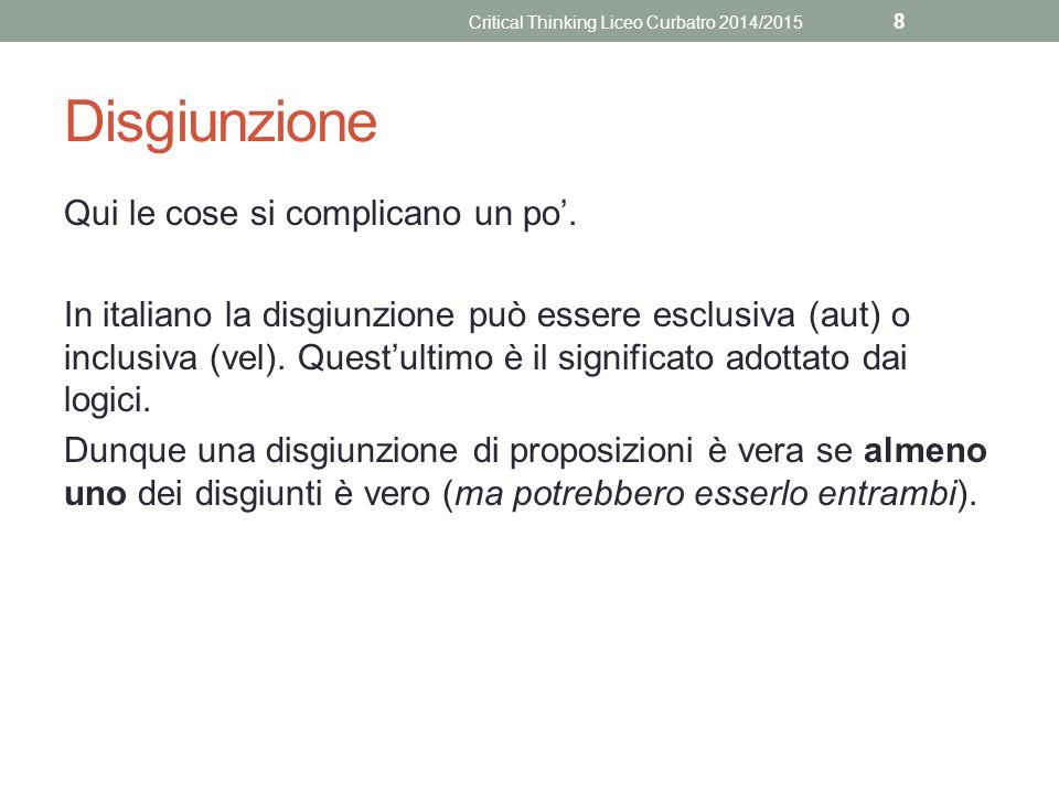 Disgiunzione Qui le cose si complicano un po'. In italiano la disgiunzione può essere esclusiva (aut) o inclusiva (vel). Quest'ultimo è il significato