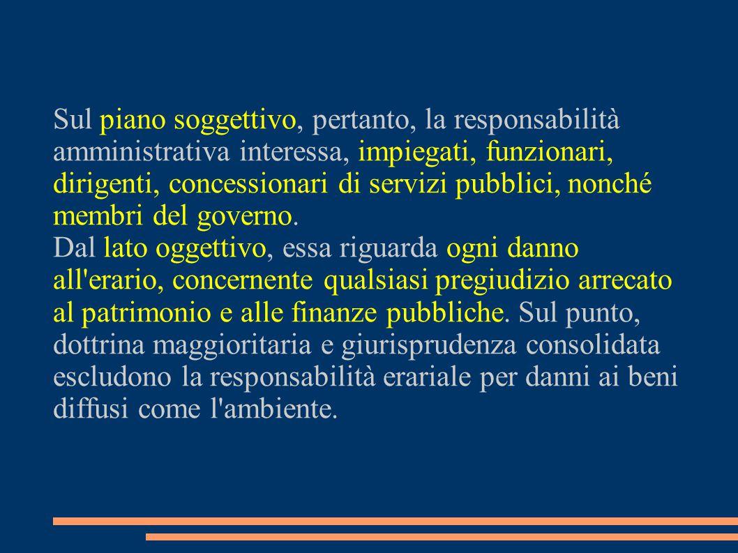 Sul piano soggettivo, pertanto, la responsabilità amministrativa interessa, impiegati, funzionari, dirigenti, concessionari di servizi pubblici, nonch