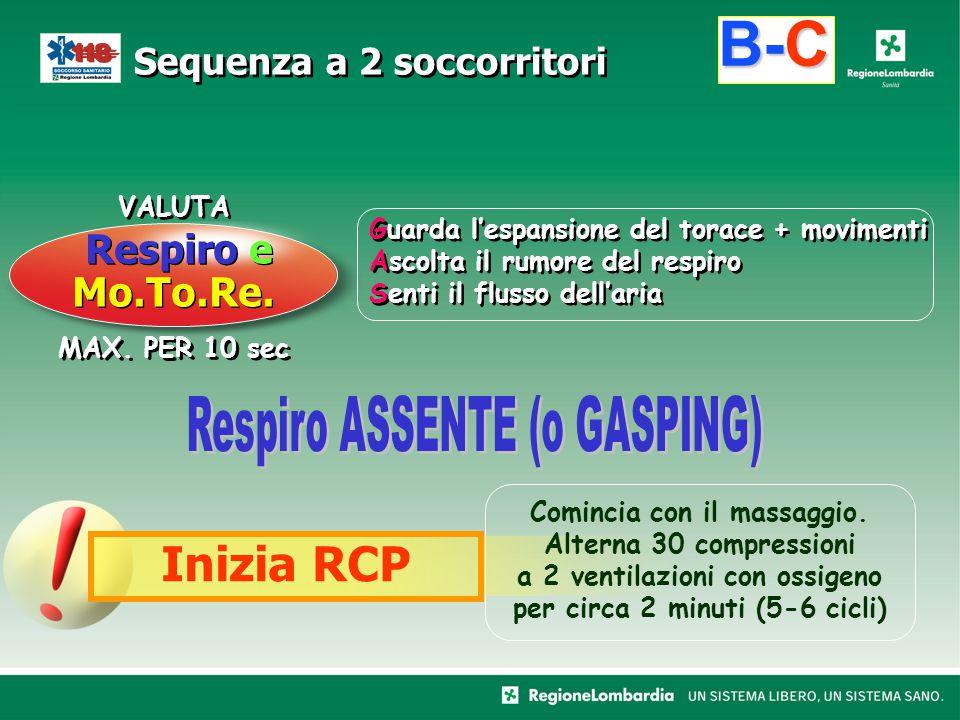 MAX. PER 10 sec VALUTA B-C Respiro e Mo.To.Re. Inizia RCP Sequenza a 2 soccorritori Guarda l'espansione del torace + movimenti Ascolta il rumore del r