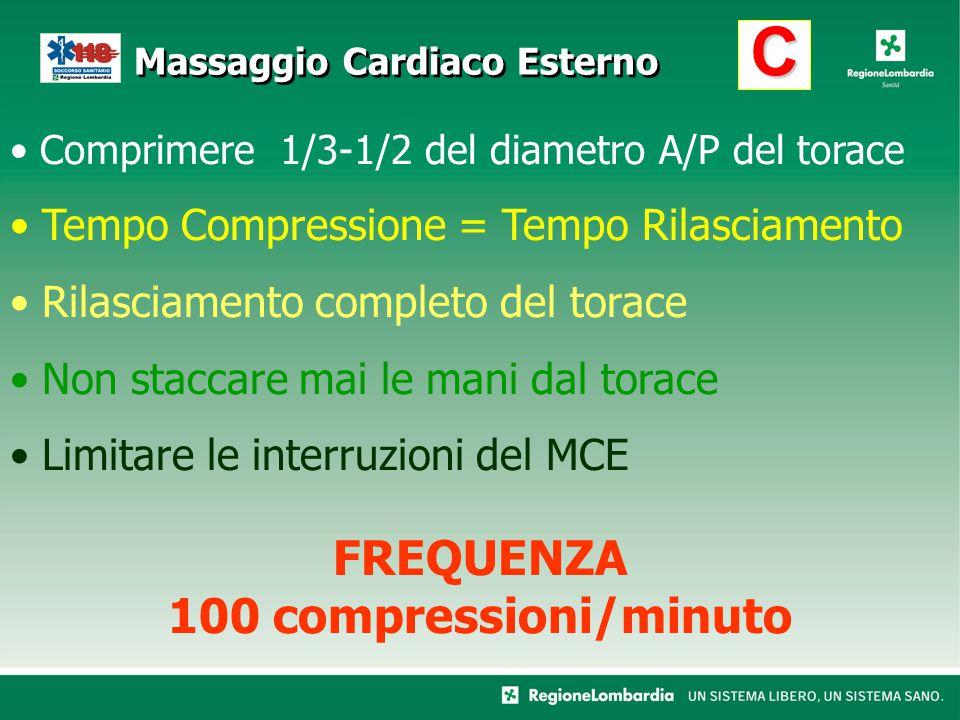 C Comprimere 1/3-1/2 del diametro A/P del torace Tempo Compressione = Tempo Rilasciamento Rilasciamento completo del torace Non staccare mai le mani d