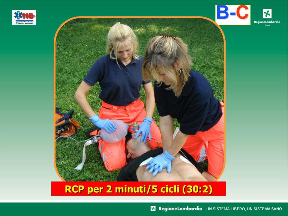 RCP per 2 minuti/5 cicli (30:2) B-C