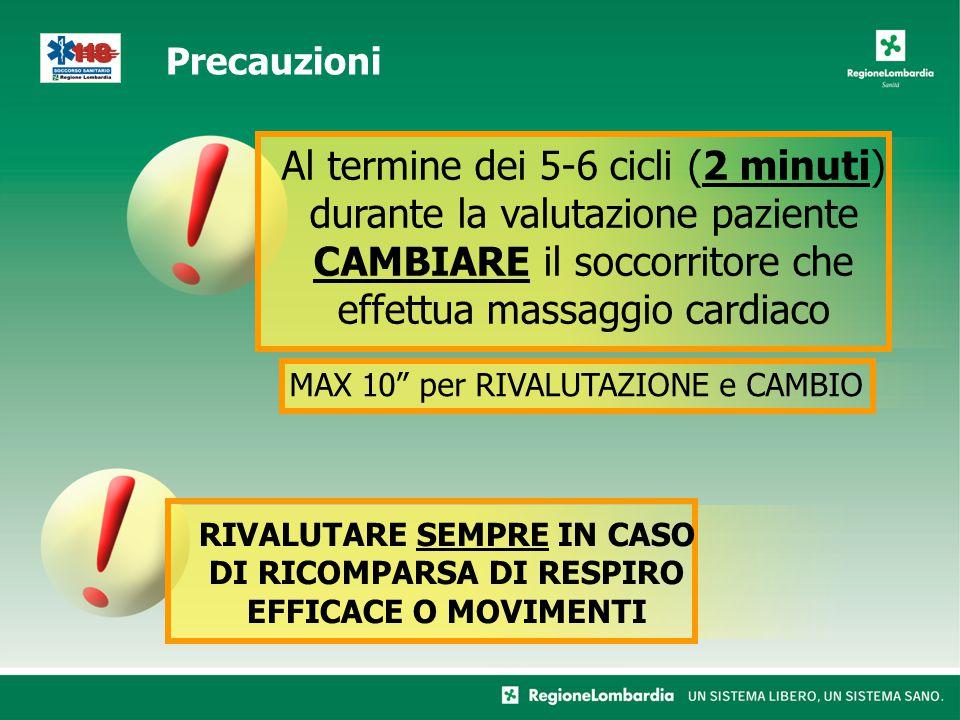 Al termine dei 5-6 cicli (2 minuti) durante la valutazione paziente CAMBIARE il soccorritore che effettua massaggio cardiaco RIVALUTARE SEMPRE IN CASO