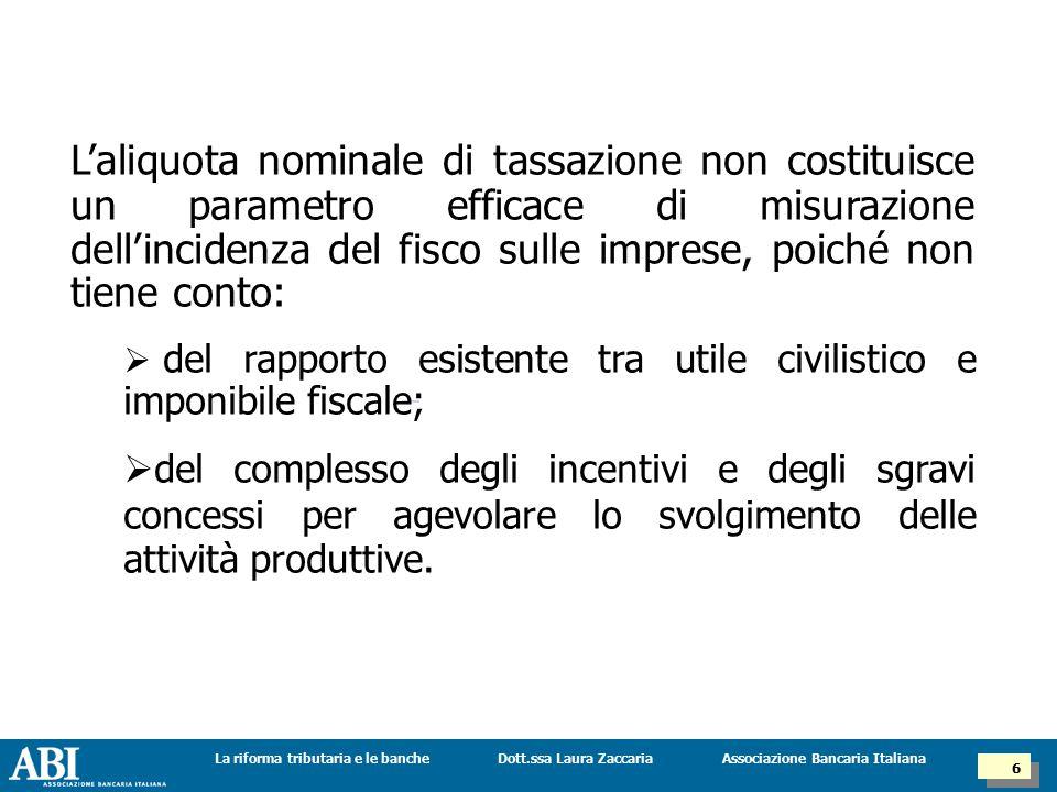 Dott.ssa Laura ZaccariaLa riforma tributaria e le banche 7 7 Associazione Bancaria Italiana