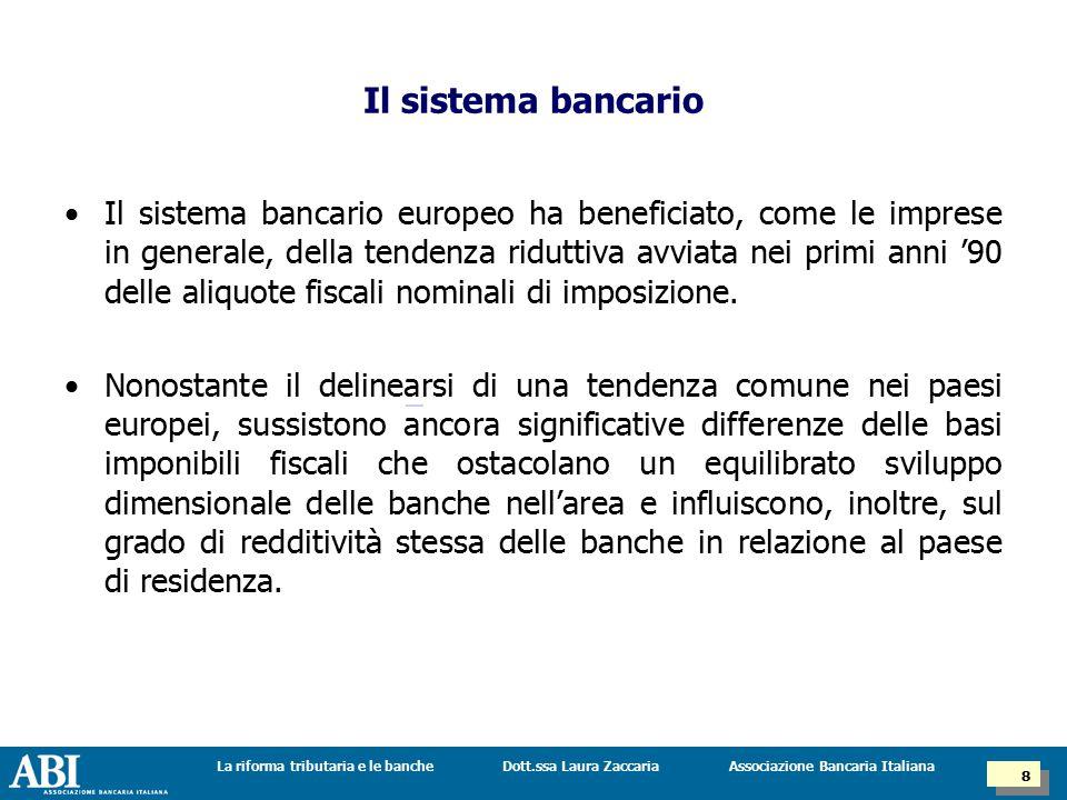 Dott.ssa Laura ZaccariaLa riforma tributaria e le banche 8 8 Associazione Bancaria Italiana Il sistema bancario europeo ha beneficiato, come le imprese in generale, della tendenza riduttiva avviata nei primi anni '90 delle aliquote fiscali nominali di imposizione.