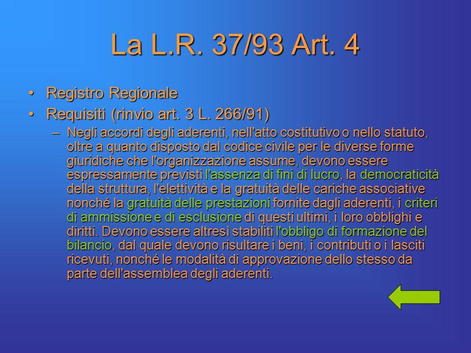 La L.R. 37/93 Art. 4 Registro RegionaleRegistro Regionale Requisiti (rinvio art.