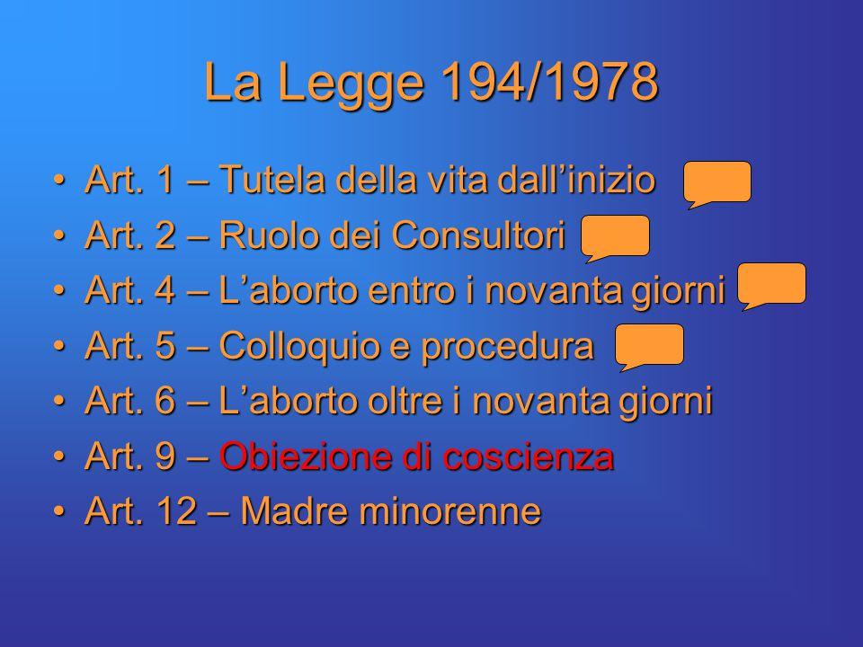 La Legge 194/1978 Art. 1 – Tutela della vita dall'inizioArt.