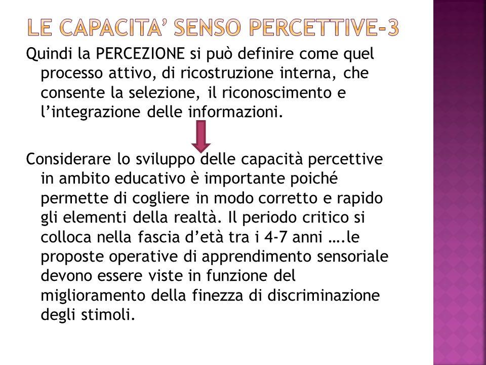 Quindi la PERCEZIONE si può definire come quel processo attivo, di ricostruzione interna, che consente la selezione, il riconoscimento e l'integrazione delle informazioni.