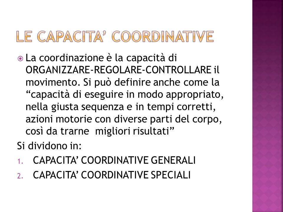""" La coordinazione è la capacità di ORGANIZZARE-REGOLARE-CONTROLLARE il movimento. Si può definire anche come la """"capacità di eseguire in modo appropr"""