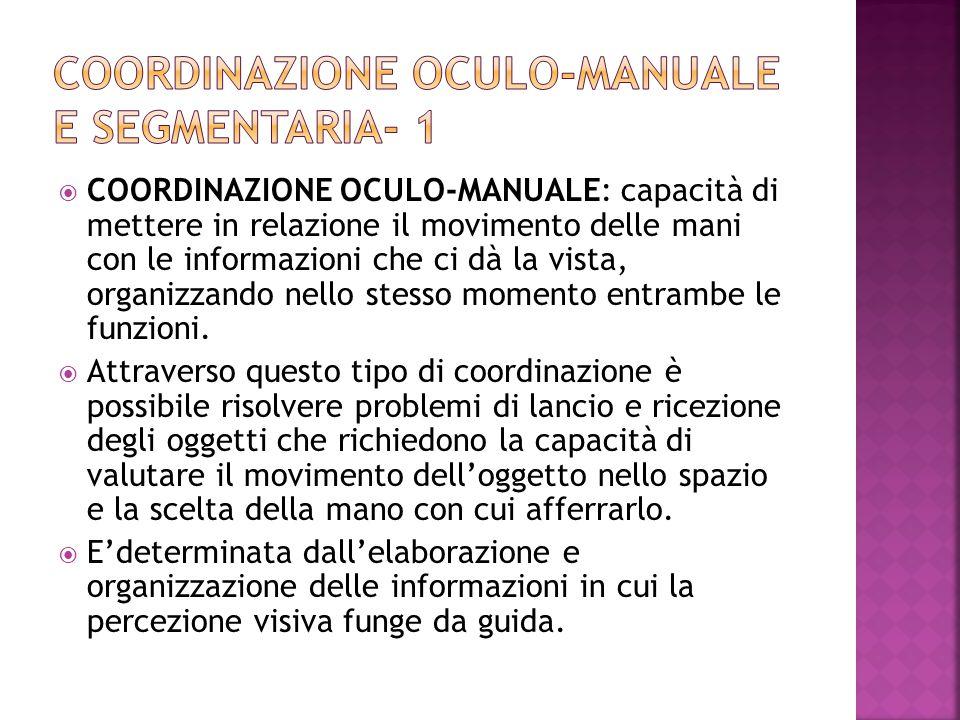  COORDINAZIONE OCULO-MANUALE: capacità di mettere in relazione il movimento delle mani con le informazioni che ci dà la vista, organizzando nello stesso momento entrambe le funzioni.