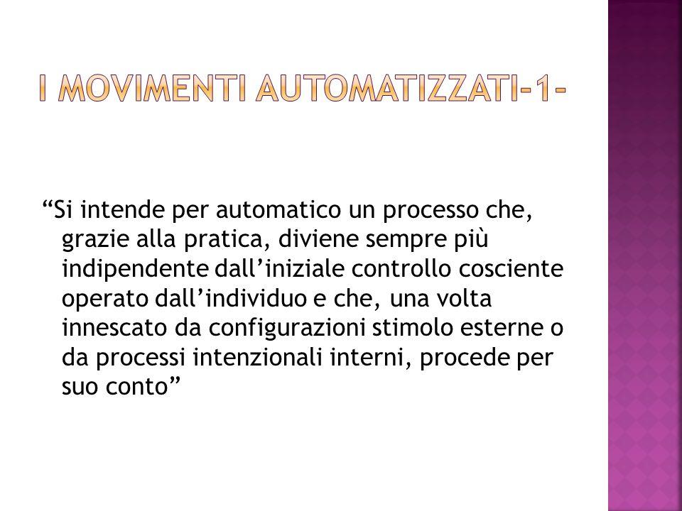 Si intende per automatico un processo che, grazie alla pratica, diviene sempre più indipendente dall'iniziale controllo cosciente operato dall'individuo e che, una volta innescato da configurazioni stimolo esterne o da processi intenzionali interni, procede per suo conto