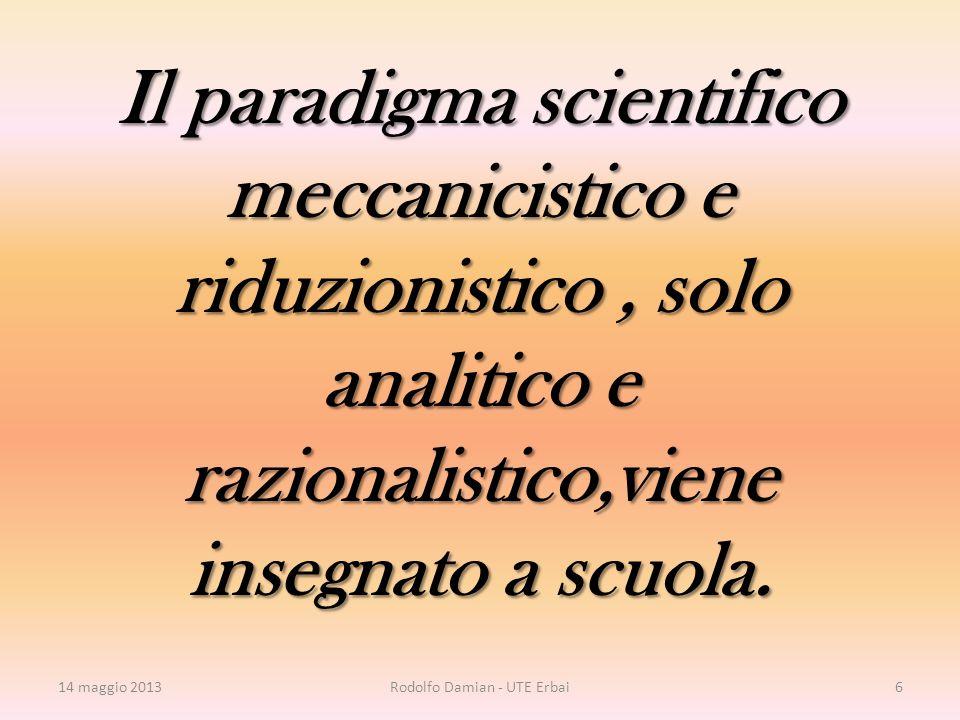 Il paradigma scientifico meccanicistico e riduzionistico, solo analitico e razionalistico,viene insegnato a scuola.