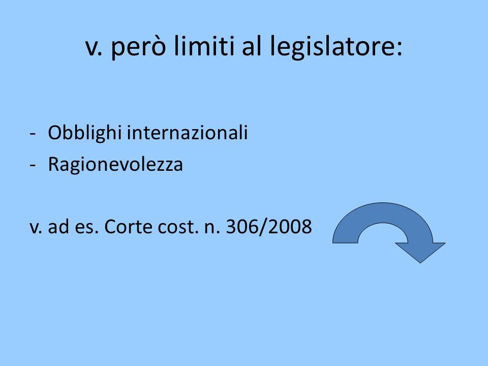 v.però limiti al legislatore: -Obblighi internazionali -Ragionevolezza v.