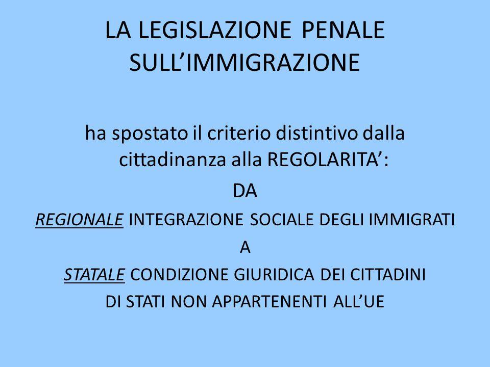 LA LEGISLAZIONE PENALE SULL'IMMIGRAZIONE ha spostato il criterio distintivo dalla cittadinanza alla REGOLARITA': DA REGIONALE INTEGRAZIONE SOCIALE DEGLI IMMIGRATI A STATALE CONDIZIONE GIURIDICA DEI CITTADINI DI STATI NON APPARTENENTI ALL'UE