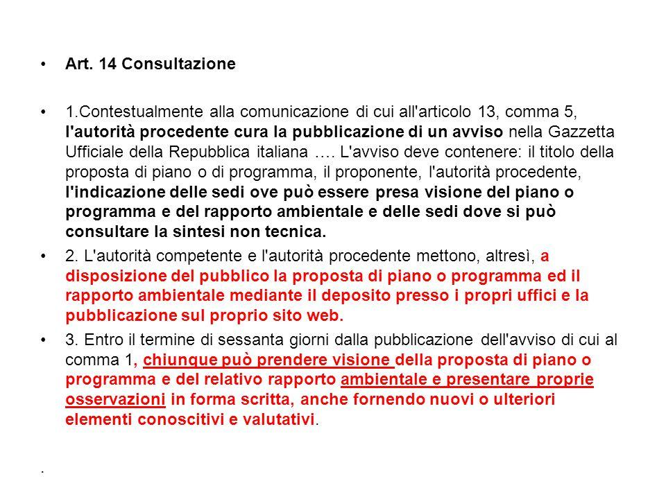 Art. 14 Consultazione 1.Contestualmente alla comunicazione di cui all'articolo 13, comma 5, l'autorità procedente cura la pubblicazione di un avviso n