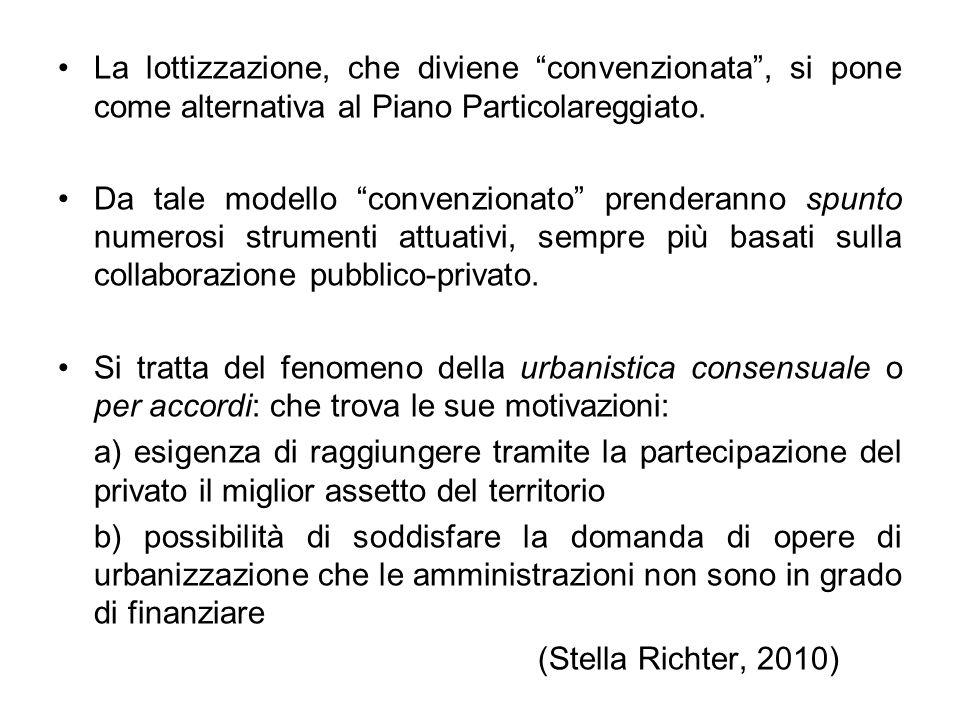 """La lottizzazione, che diviene """"convenzionata"""", si pone come alternativa al Piano Particolareggiato. Da tale modello """"convenzionato"""" prenderanno spunto"""