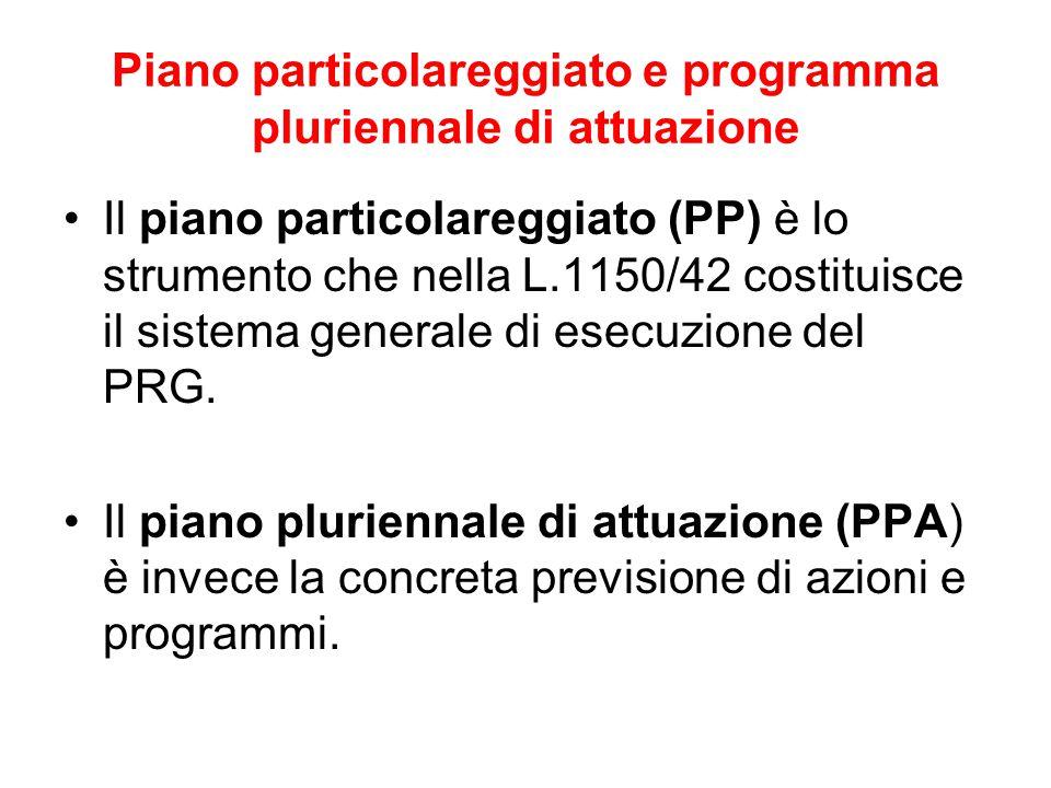 Piano particolareggiato e programma pluriennale di attuazione Il piano particolareggiato (PP) è lo strumento che nella L.1150/42 costituisce il sistem