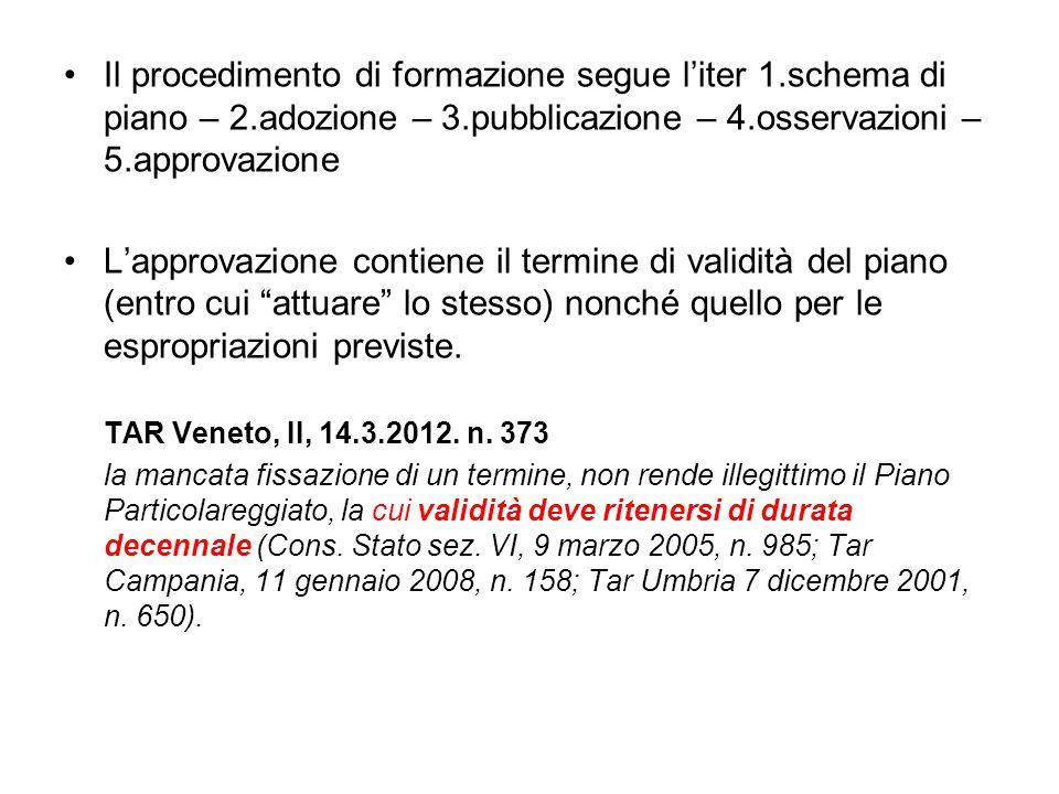 Il procedimento di formazione segue l'iter 1.schema di piano – 2.adozione – 3.pubblicazione – 4.osservazioni – 5.approvazione L'approvazione contiene