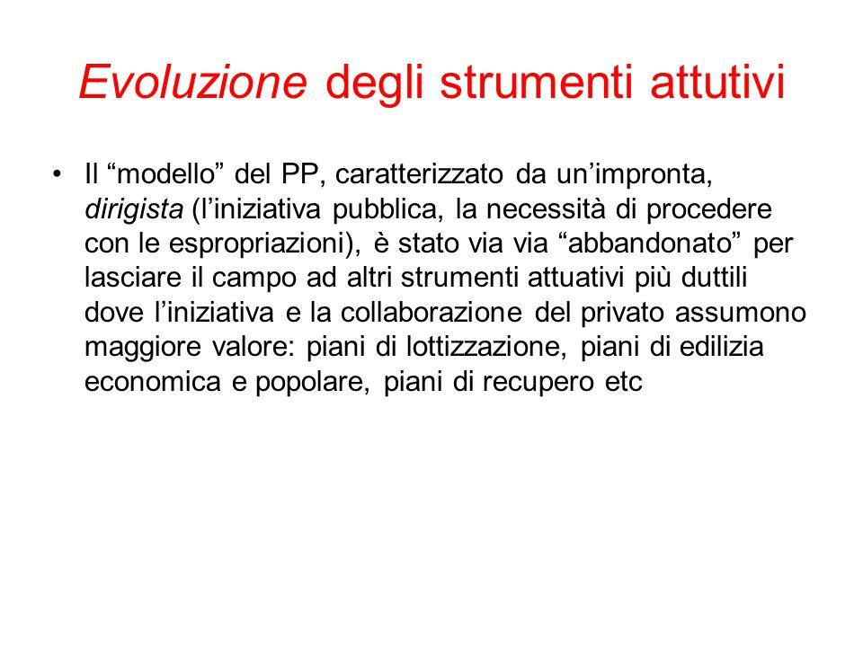 """Evoluzione degli strumenti attutivi Il """"modello"""" del PP, caratterizzato da un'impronta, dirigista (l'iniziativa pubblica, la necessità di procedere co"""