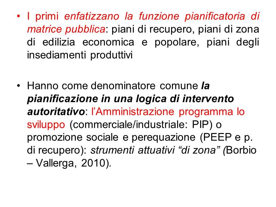 I primi enfatizzano la funzione pianificatoria di matrice pubblica: piani di recupero, piani di zona di edilizia economica e popolare, piani degli ins