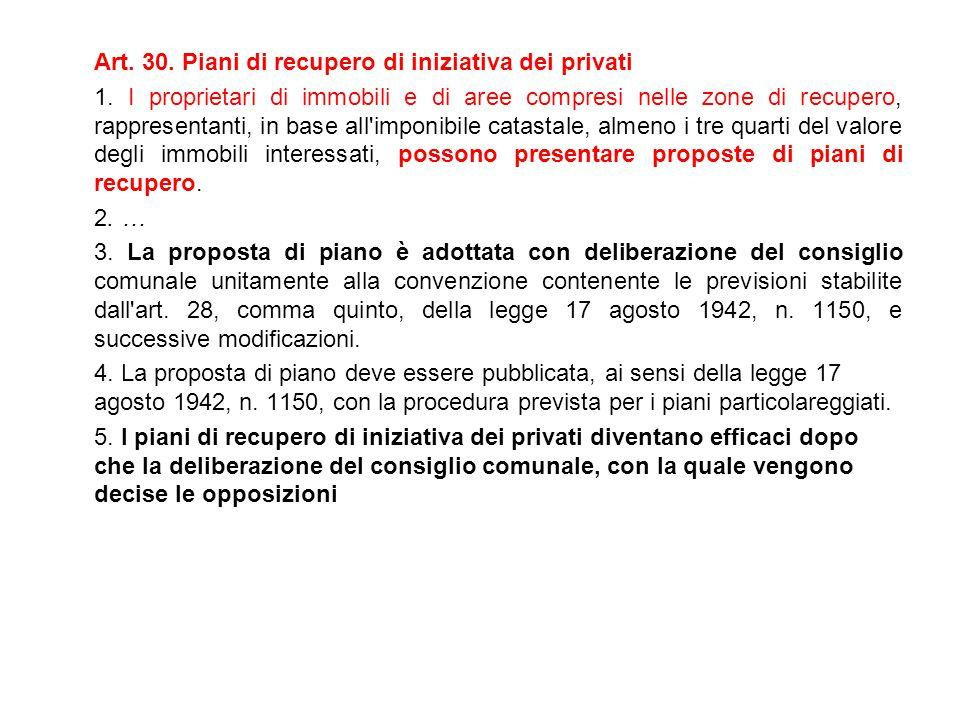 Art. 30. Piani di recupero di iniziativa dei privati 1. I proprietari di immobili e di aree compresi nelle zone di recupero, rappresentanti, in base a