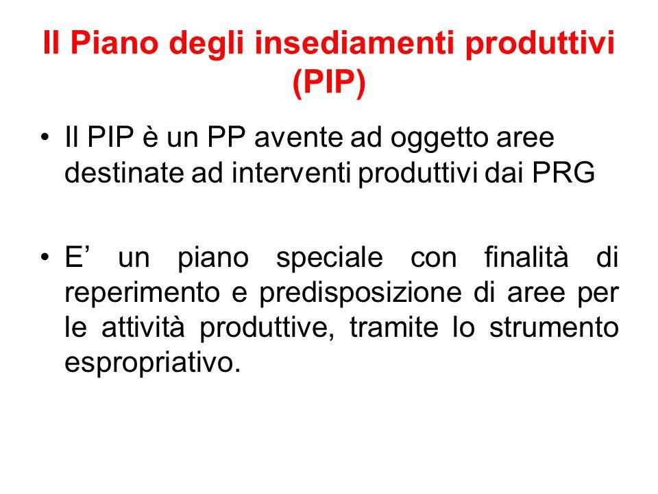Il Piano degli insediamenti produttivi (PIP) Il PIP è un PP avente ad oggetto aree destinate ad interventi produttivi dai PRG E' un piano speciale con
