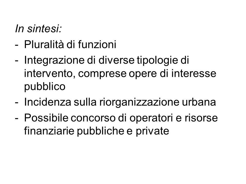 In sintesi: -Pluralità di funzioni -Integrazione di diverse tipologie di intervento, comprese opere di interesse pubblico -Incidenza sulla riorganizza