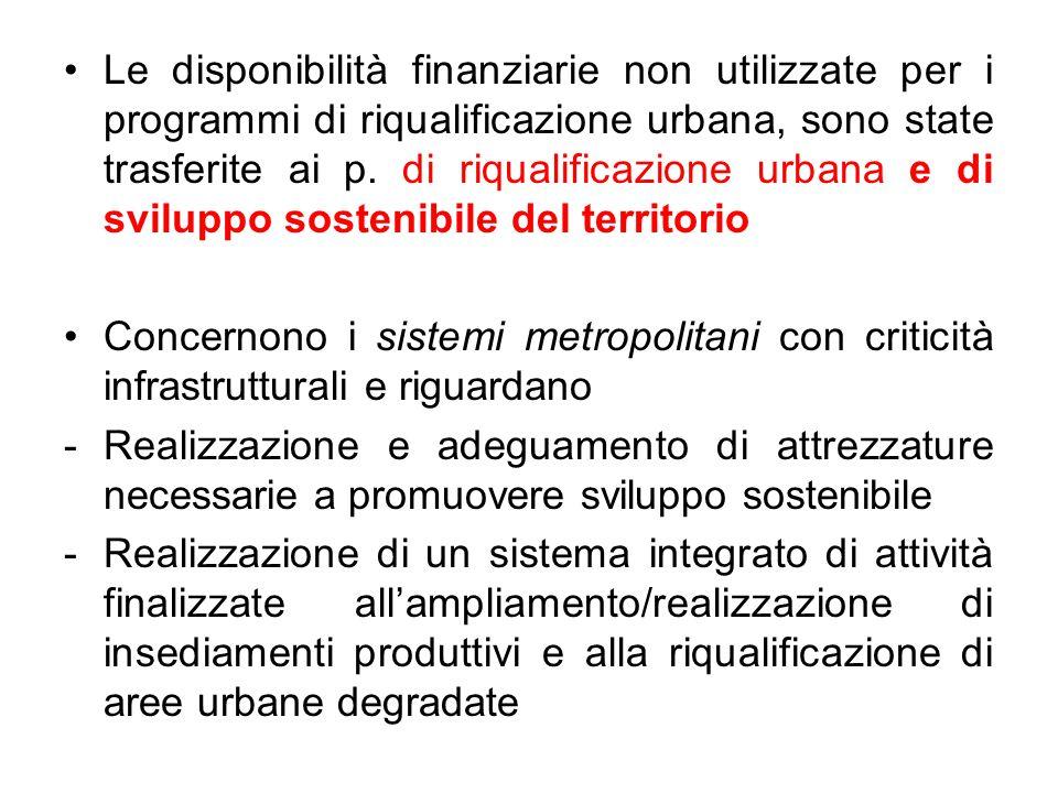 Le disponibilità finanziarie non utilizzate per i programmi di riqualificazione urbana, sono state trasferite ai p. di riqualificazione urbana e di sv