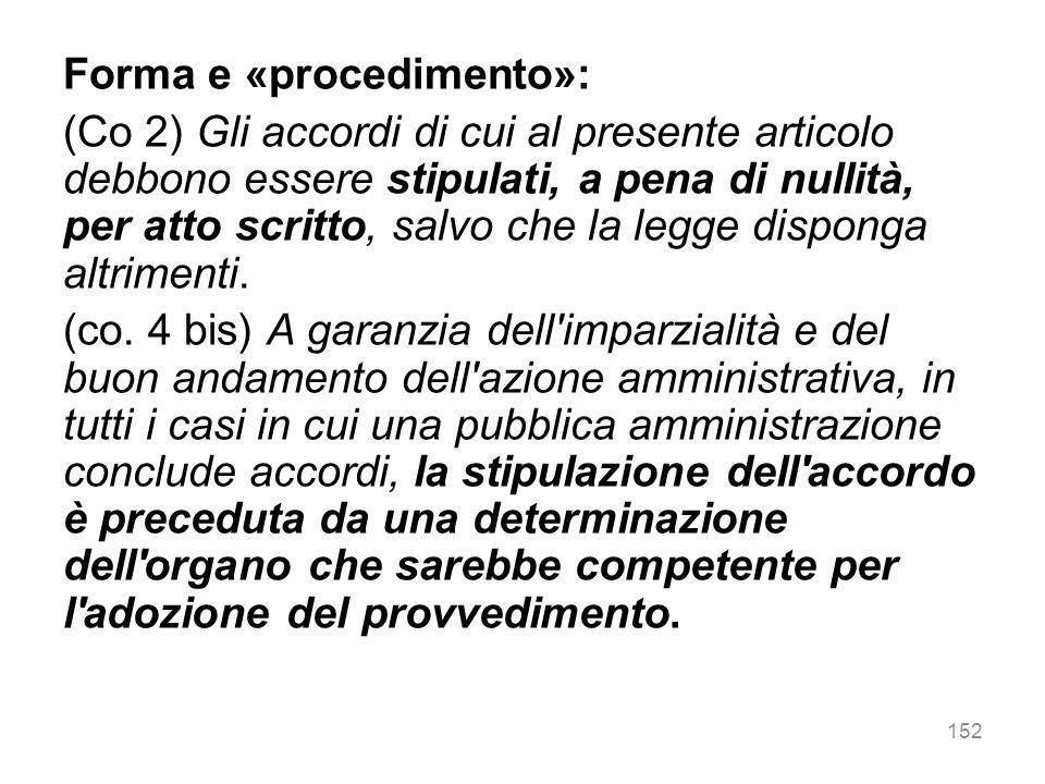 Forma e «procedimento»: (Co 2) Gli accordi di cui al presente articolo debbono essere stipulati, a pena di nullità, per atto scritto, salvo che la leg
