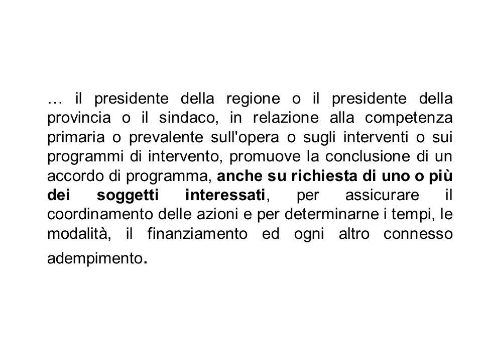 … il presidente della regione o il presidente della provincia o il sindaco, in relazione alla competenza primaria o prevalente sull'opera o sugli inte