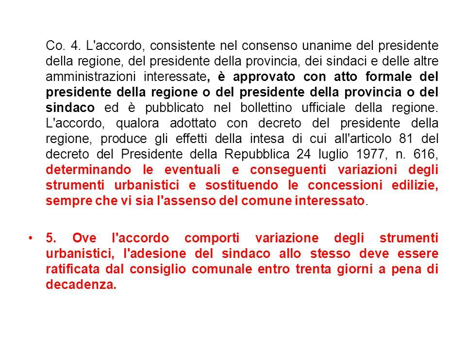 Co. 4. L'accordo, consistente nel consenso unanime del presidente della regione, del presidente della provincia, dei sindaci e delle altre amministraz